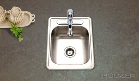 Houzer 1722-7BS Topmount Large Bar Stainless Steel Sink