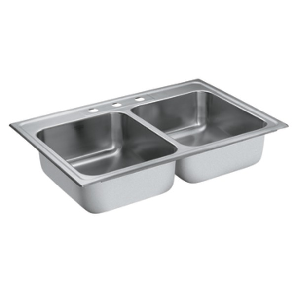 Moen 22212 Camelot Stainless Steel 20 Gauge Double Bowl Drop In Sink