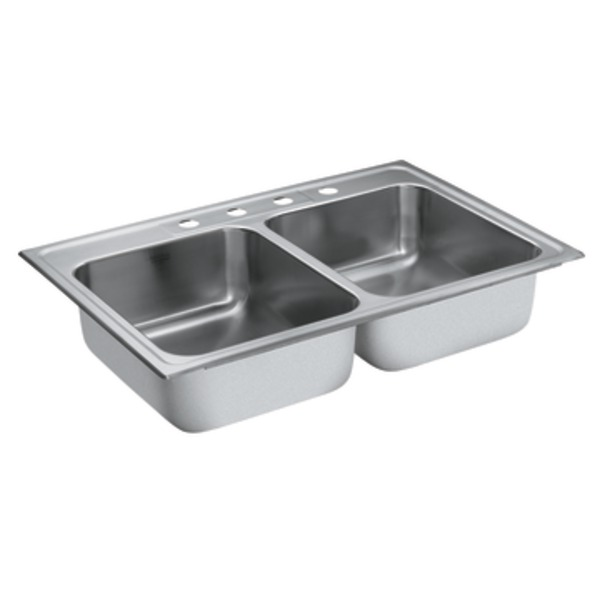 Moen 22218 Camelot Stainless Steel 20 gauge Double Bowl Drop In Sink