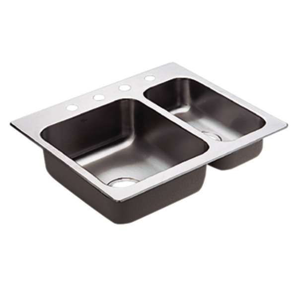 Moen 22238 Camelot Stainless Steel 20 Gauge Double Bowl Drop In Kitchen Sink