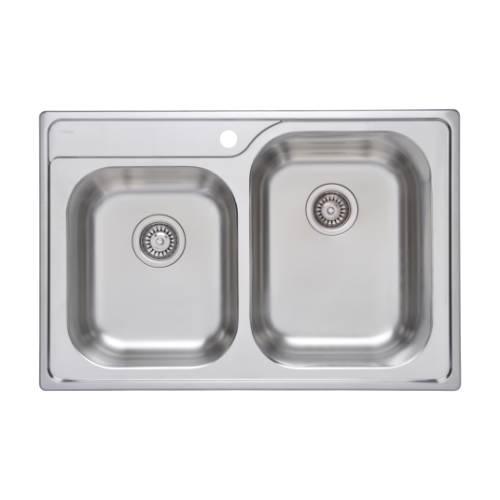 Wells Sinkware 18 Gauge Double Bowl Topmount Stainless Steel Kitchen Sink GLT3322-97