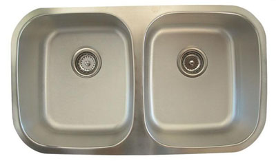 Alpha International U-311 Undermount Double Bowl Stainless Steel Sink