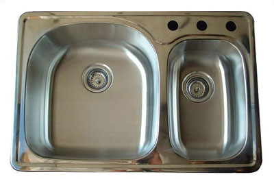 Alpha International D-321 Drop-In 70/30 Double Bowl Stainless Steel Sink