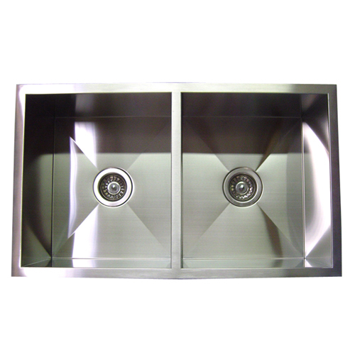"32"" Stainless Steel Zero Radius Double Bowl Undermount Kitchen Sink WC12D3219"