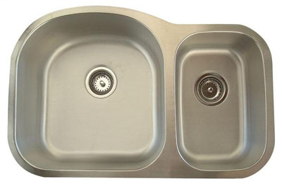 Alpha International U-321B Undermount 70/30 Double Bowl Stainless Steel Sink