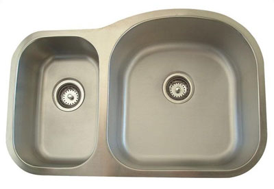 Alpha International U-321BR Undermount 30/70 Double Bowl Stainless Steel Sink
