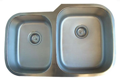 Alpha International U-322R Undermount 40/60 Double Bowl Stainless Steel Sink