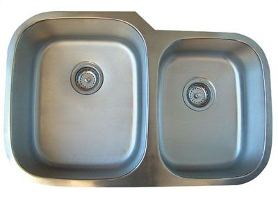 Alpha International U-322 Undermount 60/40 Double Bowl Stainless Steel Sink
