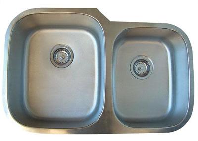 Alpha International U-322 Undermount 60/40 Double Bowl Stainless Steel Sink
