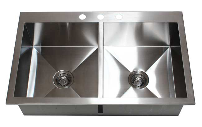 "36"" Stainless Steel Double Bowl 50/50 Topmount Kitchen Sink HTE3622"