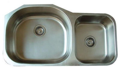 Alpha International U-372 Undermount 70/30 Double Bowl Stainless Steel Sink