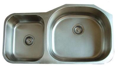 Alpha International U-372R Undermount 30/70 Double Bowl Stainless Steel Sink