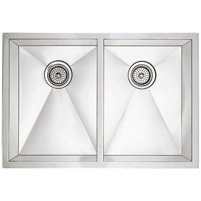 "Blanco Precision Undermount 16"" R10 Medium Equal Double Bowl Sink"