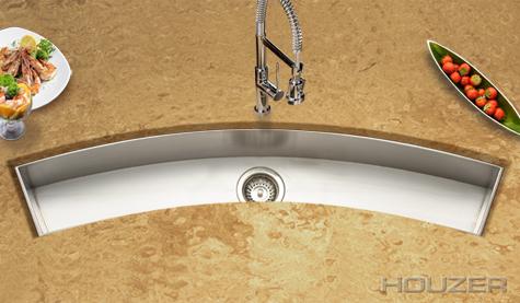 Houzer CTC-4512 Zero Radius Undermount Curved Trough Bar/Prep Stainless Steel Sink