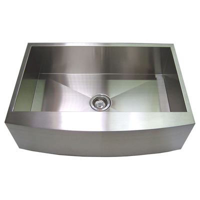 "30"" Stainless Steel Zero Radius Kitchen Sink Curve Apron Front WC12S003R4"