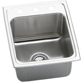 Elkay Lustertone 17x22x10 Single Bowl Stainless Steel Sink DLR1722