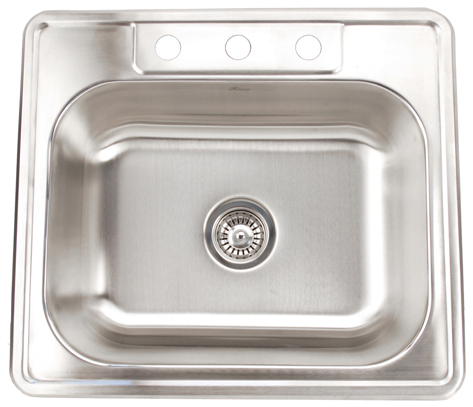 Fontaine 3-Hole Stainless Steel Drop-in Kitchen Sink