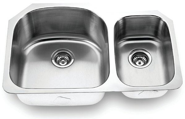 Fontaine Stainless Steel Offset Double Bowl Undermount Kitchen Sink