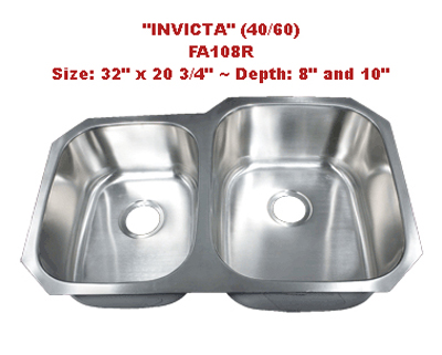 Futura Invicta Reverse 40/60 FA108R Double Bowl Stainless Steel Kitchen Sink