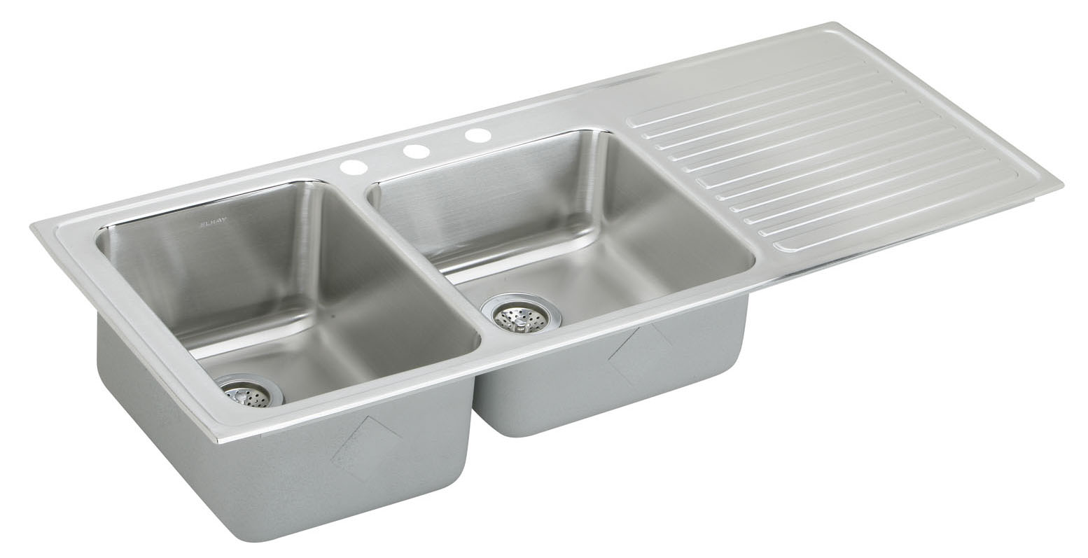 Captivating Elkay Gourmet Lustertone ILGR5422 Topmount Double Bowl Stainless Steel Sink