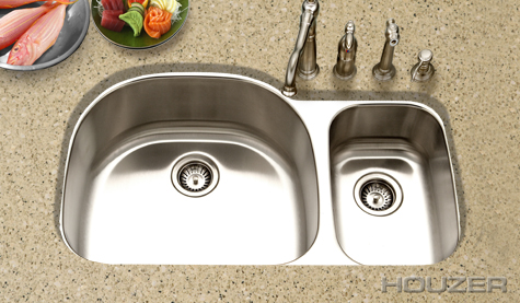 Houzer Medallion Desinger Undermount Large Double Bowl MCS-3521SR-1