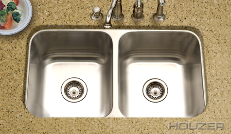 Houzer MD-3109 Undermount 50/50 Double Bowl Stainless Steel Sink