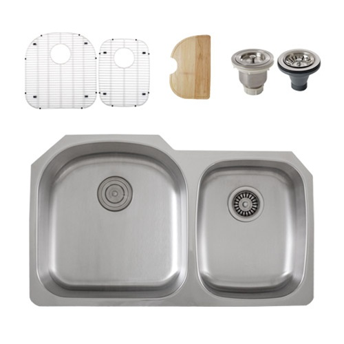 Ticor S105-8 Undermount Stainless Steel Double Bowl Kitchen Sink + Accessories