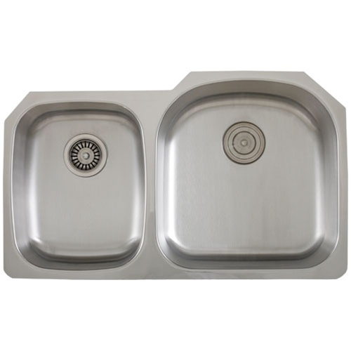 Ticor S105-8R Undermount 16 G Stainless Steel Double-Bowl Kitchen Sink + Accessories