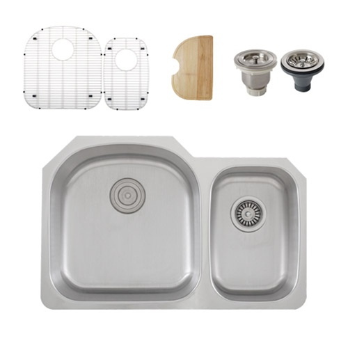 Ticor S105D Undermount Stainless Steel Double Bowl Kitchen Sink + Accessories