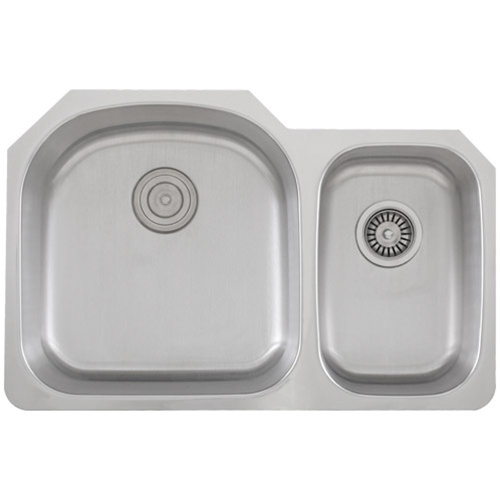 Ticor S105D Undermount Stainless Steel Double Bowl Kitchen Sink With Free Stainless Steel Deluxe Strainer & Basket Strainer
