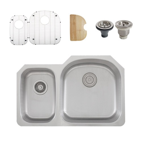 Ticor S105DR Undermount 16 G Stainless Steel Double Bowl Kitchen Sink + Accessories