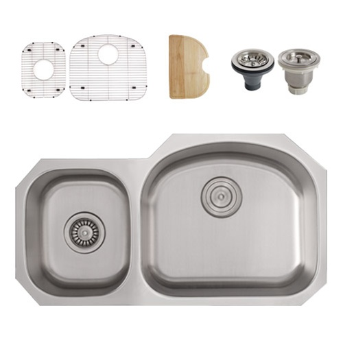 Ticor S105R Undermount 16 G Stainless Steel Double Bowl Kitchen Sink + Accessories