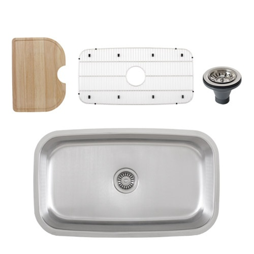 Ticor S112 Undermount Stainless Steel Single Bowl Kitchen Sink + Accessories