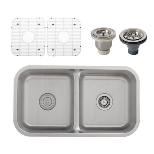 Ticor Sinks : Home / Double Bowl Sinks / Ticor S1210 Low-Divide Undermount 16-Gauge ...