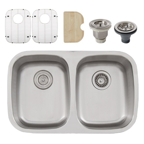 Ticor s215 undermount 16 g stainless steel double bowl - Stainless steel kitchen sink accessories ...