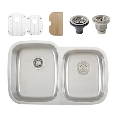 Ticor S305 Undermount Stainless Steel Double-Bowl Kitchen Sink + Accessories