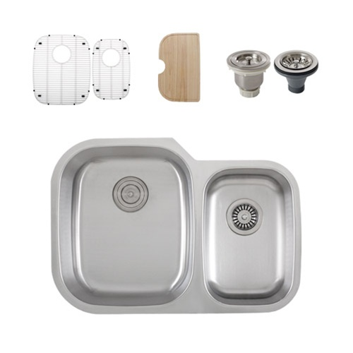 Ticor S315 Undermount 16 G Stainless Steel Double Bowl Kitchen Sink + Accessories