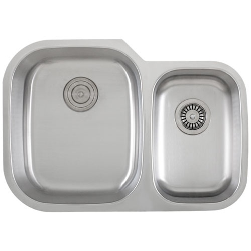 Ticor S315 Undermount 16 G Stainless Steel Double Bowl Kitchen Sink With Free Pullout Basket Strainer & Deluxe Strainer
