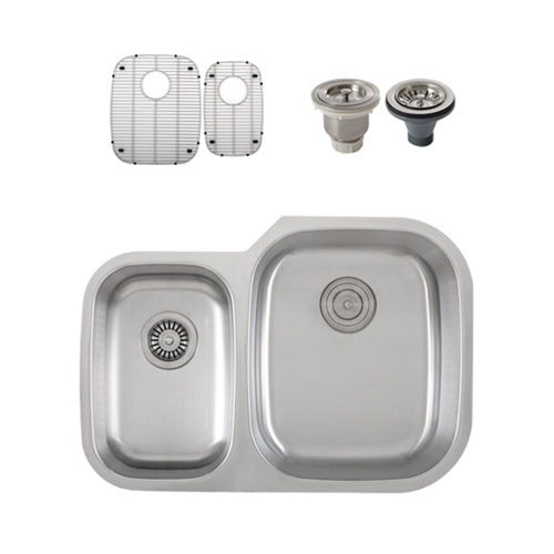 Ticor S315R Undermount Stainless Steel Double-Bowl Kitchen Sink + Accessories