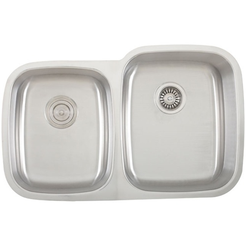 Ticor S315R Undermount Stainless Steel Double-Bowl Kitchen Sink With Free Pullout Basket Strainer & Regular Strainer