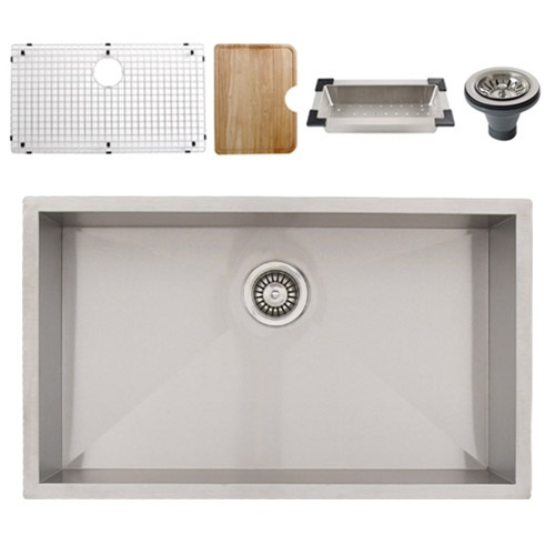 Ticor S3510 Undermount 16-Gauge Stainless Steel Kitchen Sink + Accessories