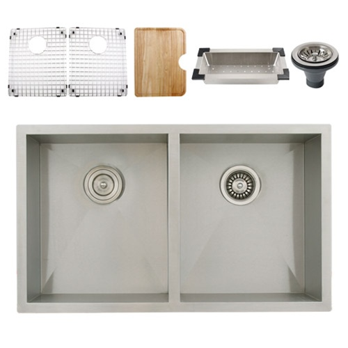 Ticor S3550 Undermount 16-Gauge Stainless Steel Kitchen Sink + Accessories
