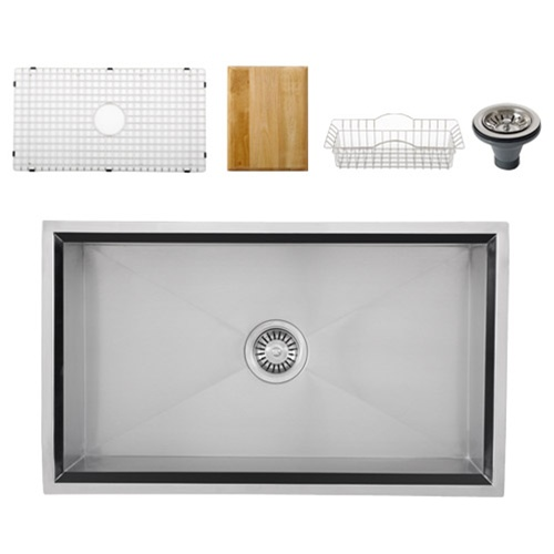 Ticor S508 Undermount 16 Gauge Stainless Steel Kitchen Sink + Accessories