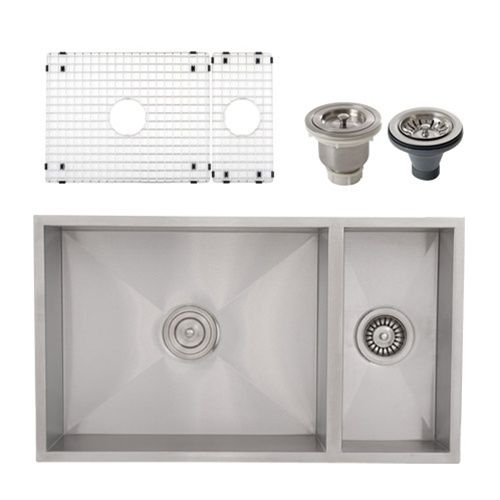 Ticor S6502 Undermount Stainless Square Kitchen Sink + Accessories