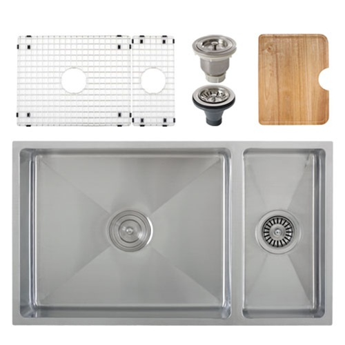 Ticor S6512 Undermount 16-G Tight Radius Stainless Steel Kitchen Sink + Accessories