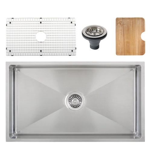 Ticor S6513 Undermount 16 G Tight Radius Stainless Steel Kitchen Sink + Accessories