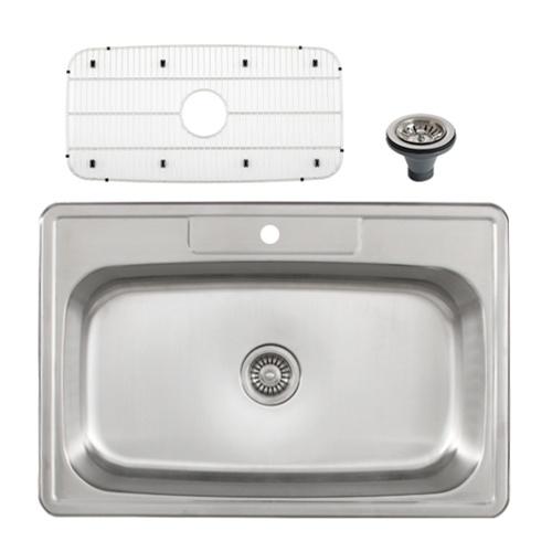 Ticor S994 Overmount Stainless Steel Single Bowl Kitchen Sink + Accessories
