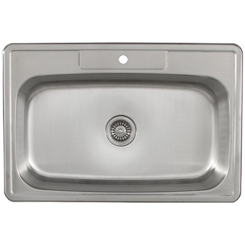 Ticor S994 Overmount Stainless Steel Single Bowl Kitchen Sink With Deluxe Strainer