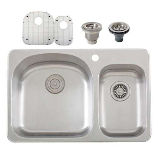 Overmount Stainless Steel Sink : Ticor S997 Overmount 18-Gauge Stainless Steel Double Bowl Kitchen Sink ...