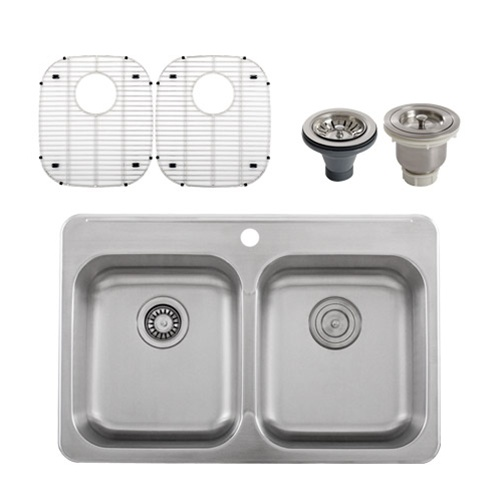 Ticor S998 Overmount 18-Gauge Stainless Steel Double Bowl Kitchen Sink + Accessories